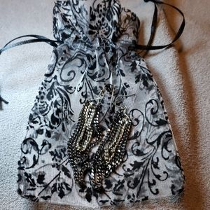 not sure Jewelry - Silver and black chain earrings with gift bag